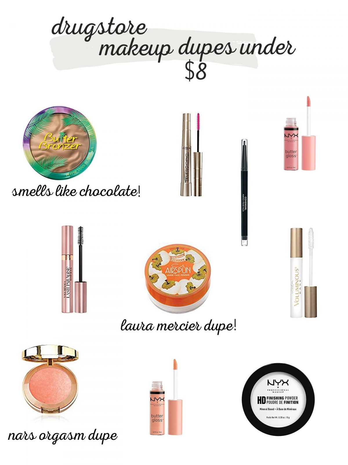 drugstore makeup dupes under $8