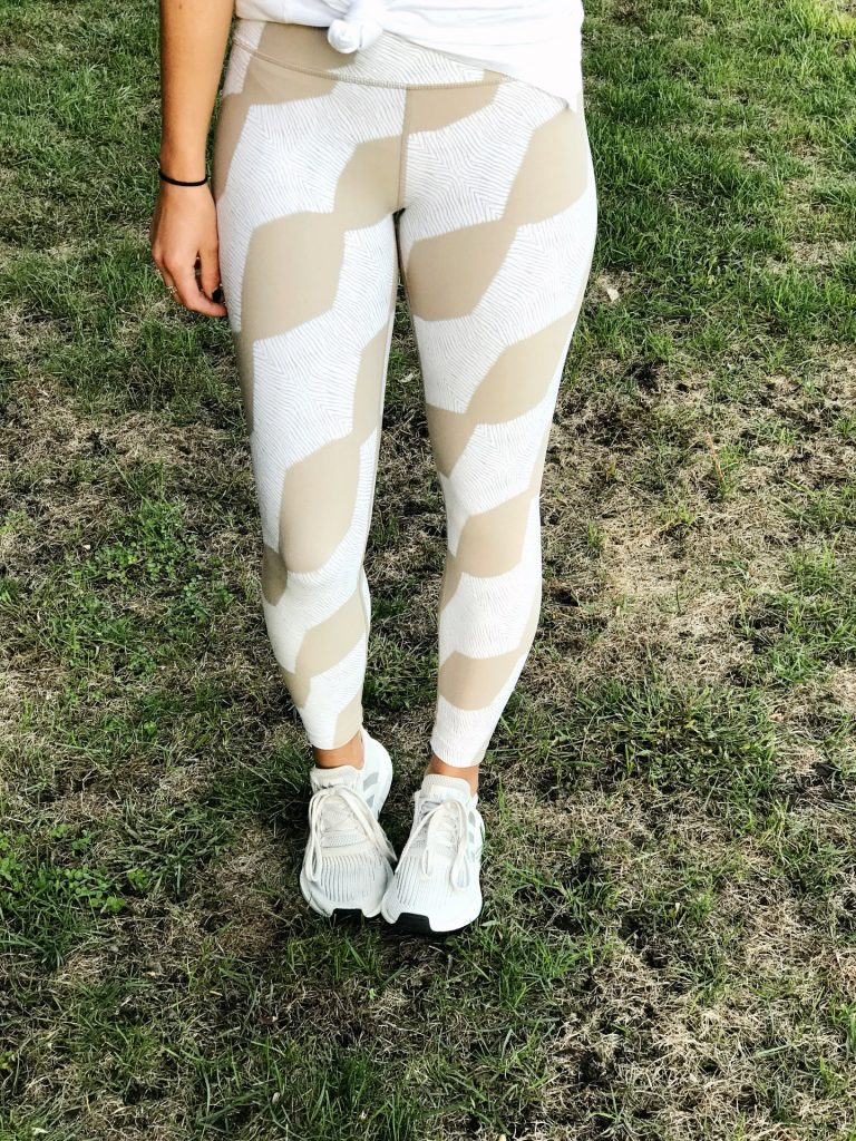 white and gray Adidas sneakers workout outfit