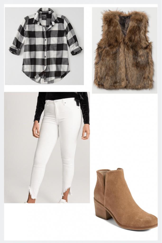 thanksgiving outfit idea flannel and fur vest