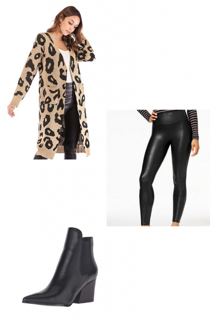 amazon leopard cardigan thanksgiving outfit