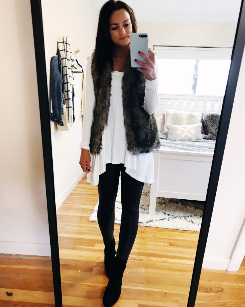 fur vest and Spanx thanksgiving outfit
