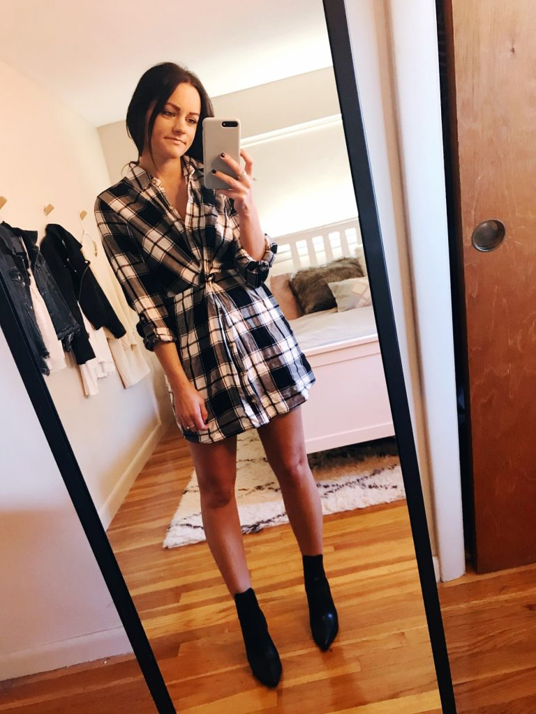 plaid dress thanksgiving outfit