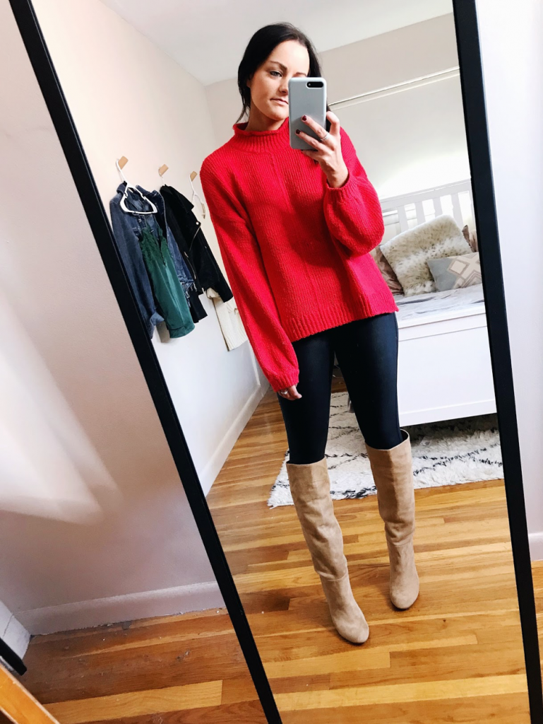 holiday look casual red sweater