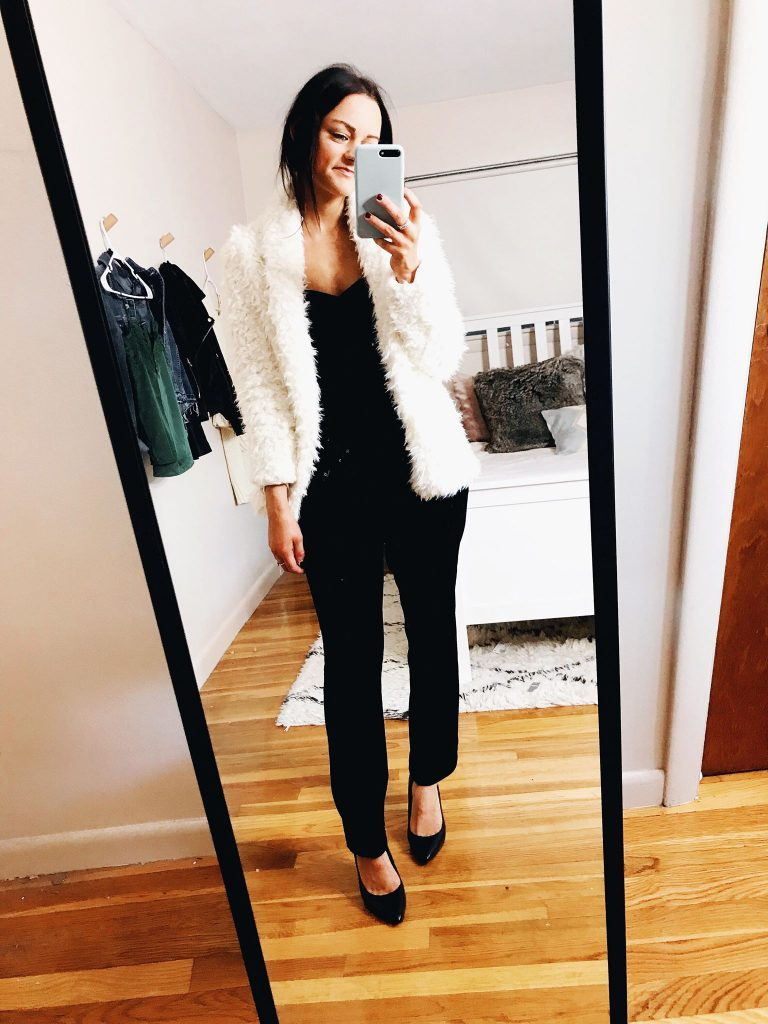 winter holiday look velvet jumpsuit