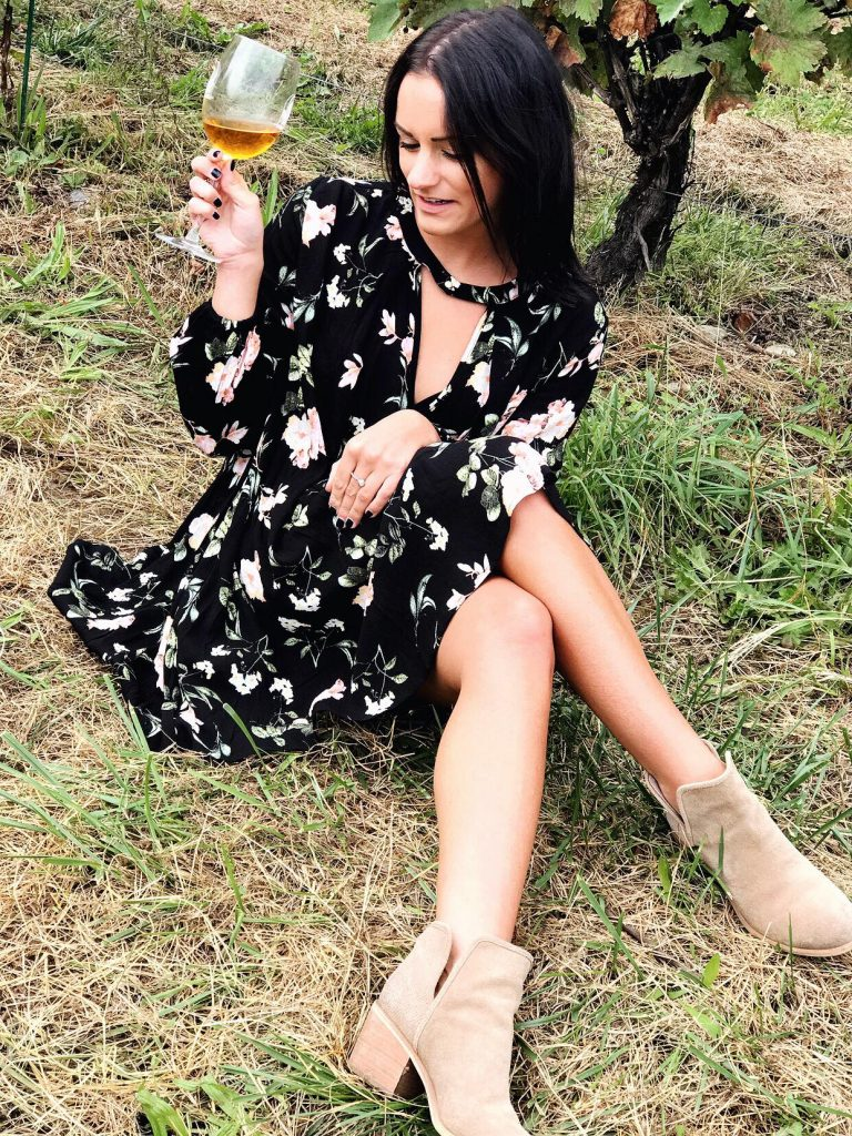 sitting down wine tasting wearing free people dupe dress from amazon