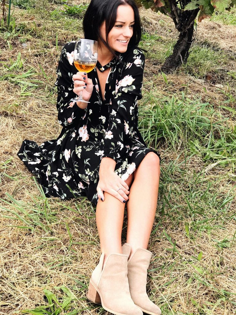 black dress and tan booties wine tasting outfit from amazon prime
