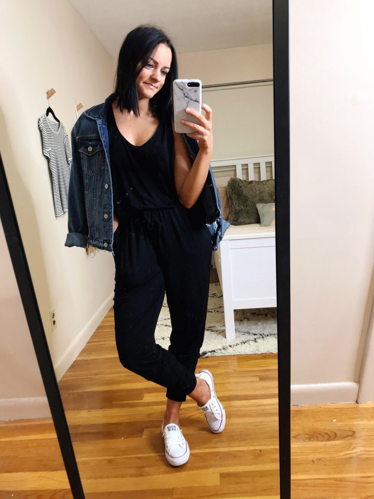 comfy jumpsuit aerie try on