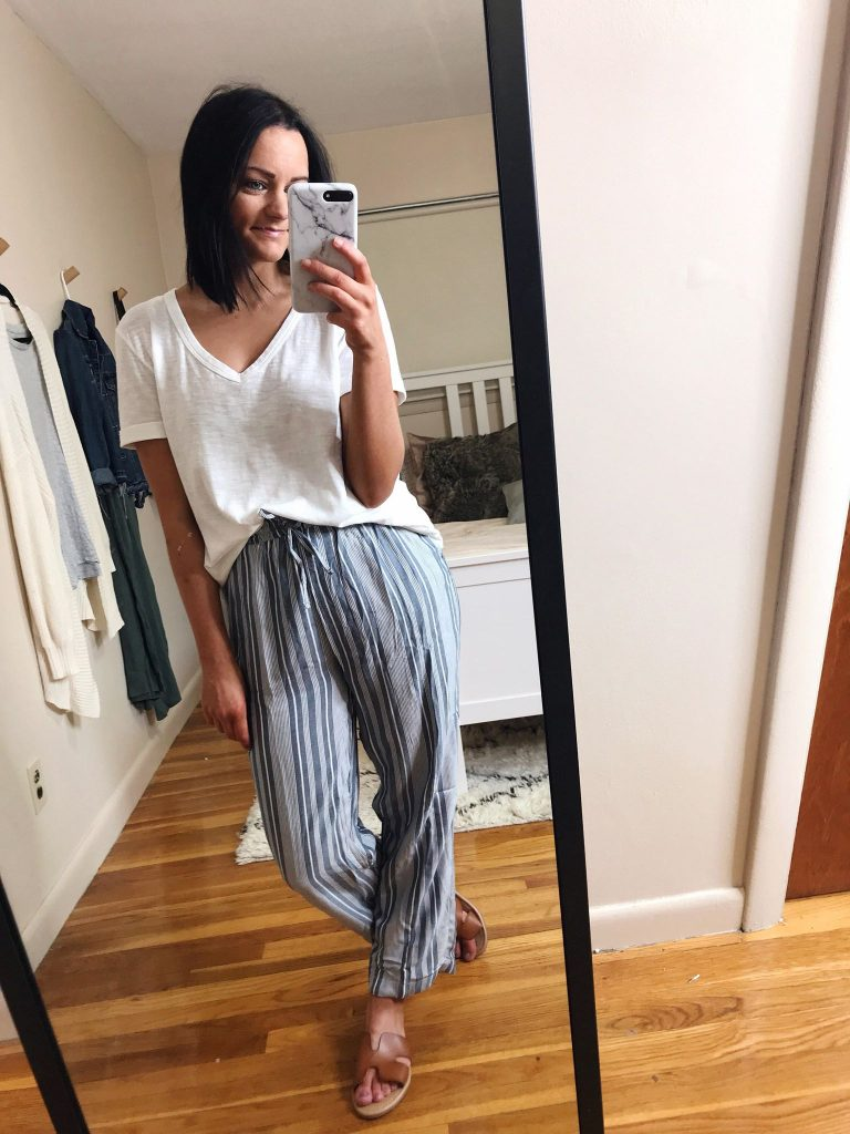 comfy pants ae try on