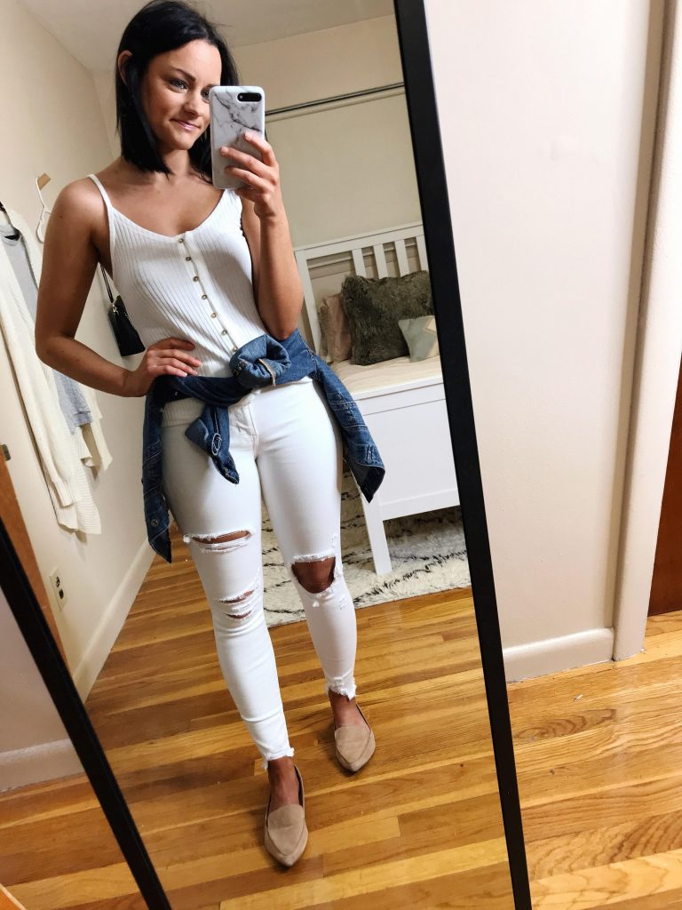 white jeans look aerie