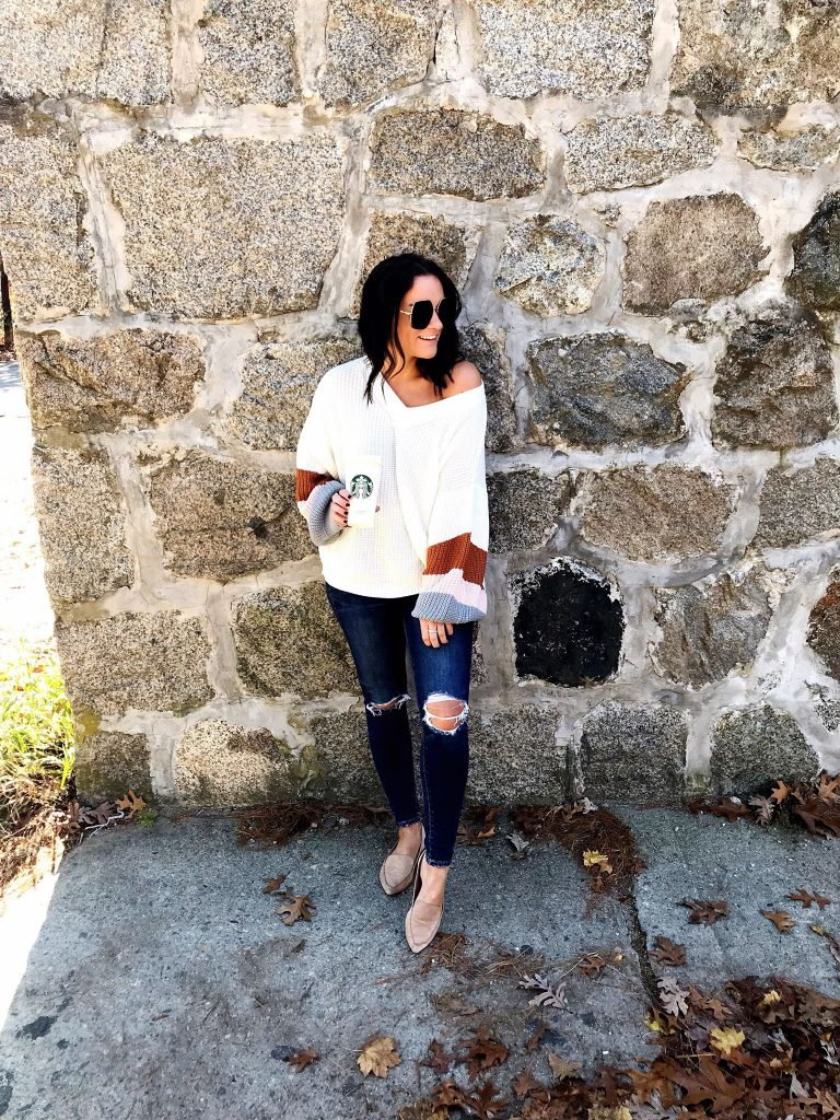 amazon prime color block sweater outfit