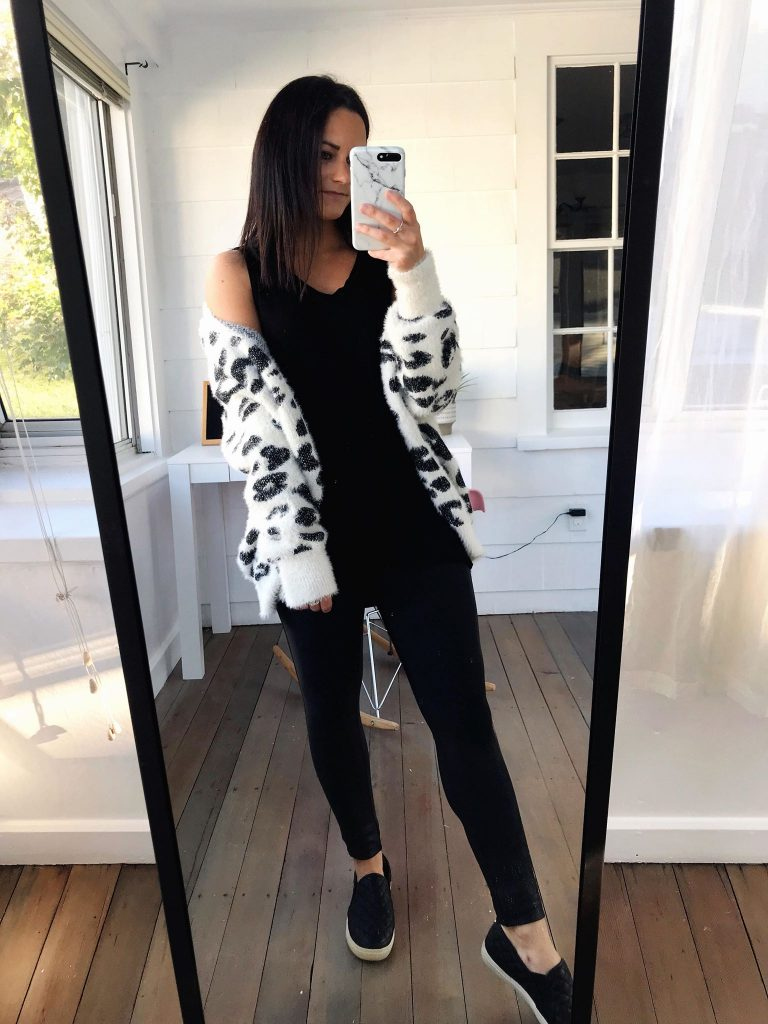 cozy leopard cardigan from amazon prime