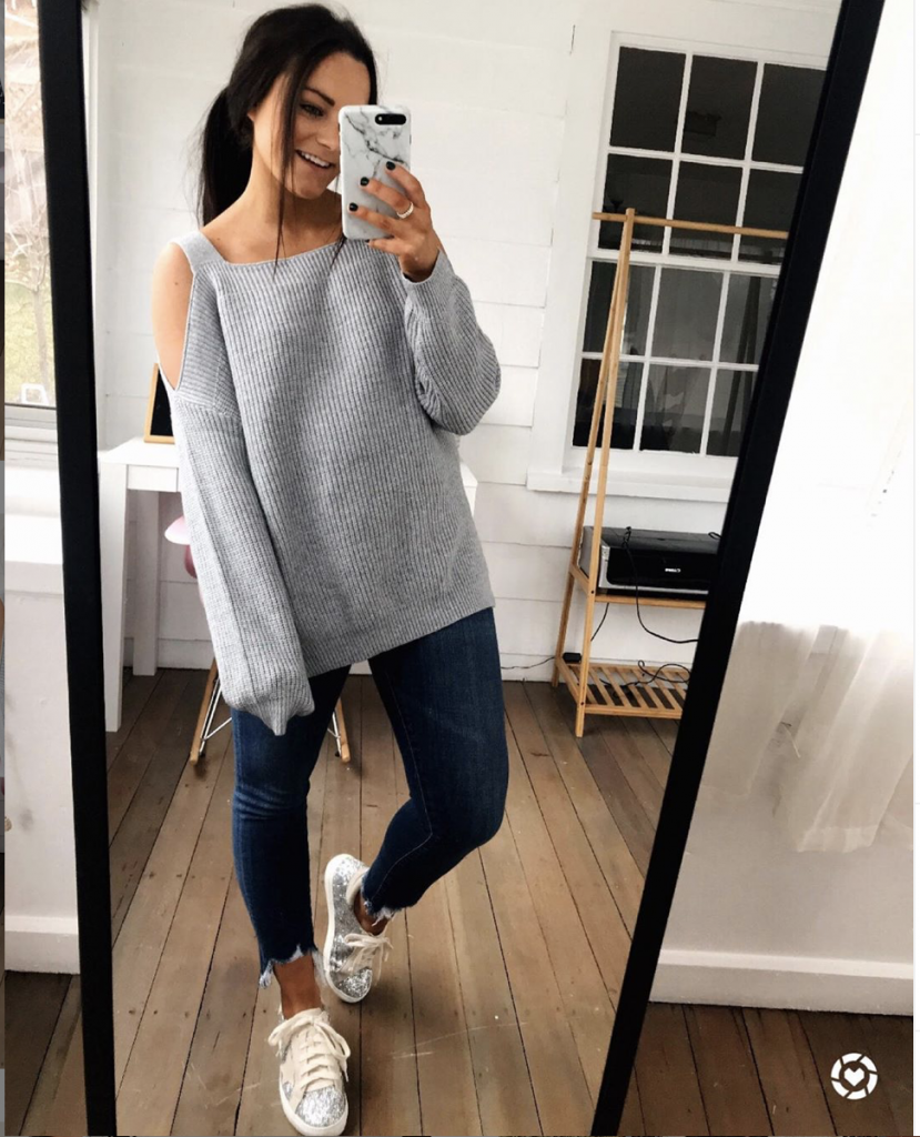 gray sweater from amazon with ripped jeans and inspired lookalikes amazon sneakers