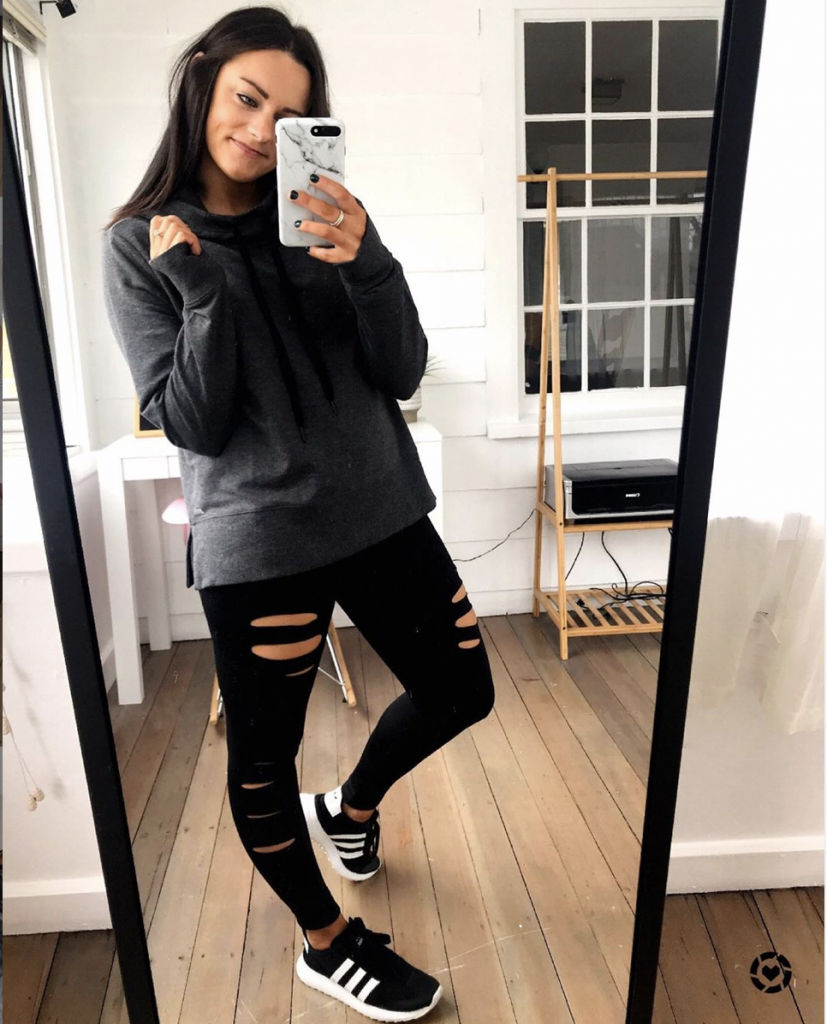 ripped black leggings outfit from amazon with gray workout sweatshirt from amazon and black and white Adidas sneakers