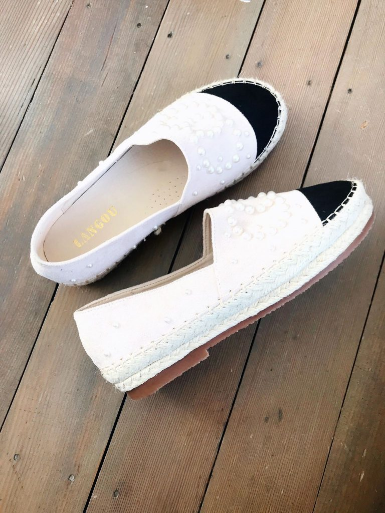 espadrille designer inspired from amazon with pearl detail