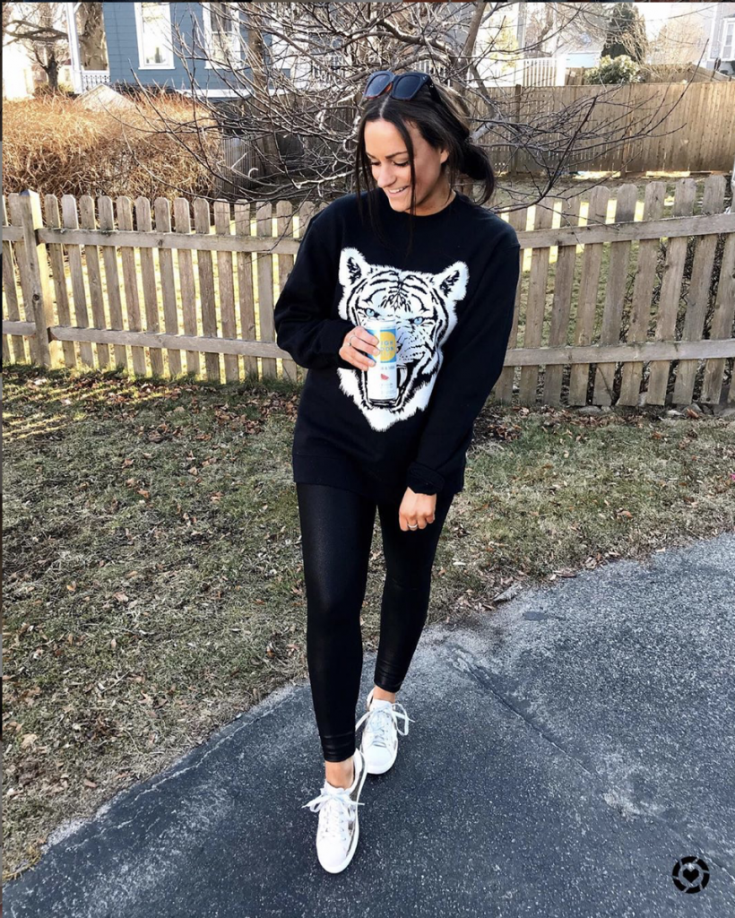 black amazon leggings outfit with tiger sweatshirt designer inspired lookalikes sneakers from amazon