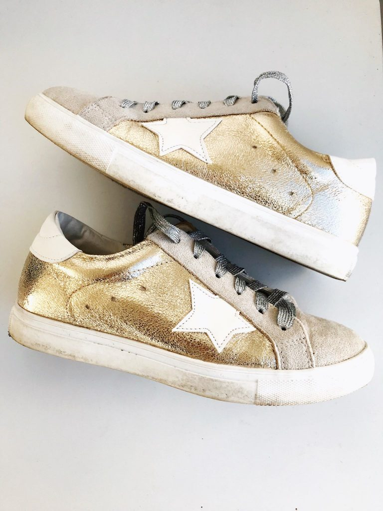 gold sneakers with white star that look like designer inspired lookalikes from amazon