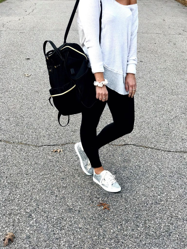amazon leggings outfit with white waffle knit long sleeve tunic and sneaker designer inspired lookalikes from amazon