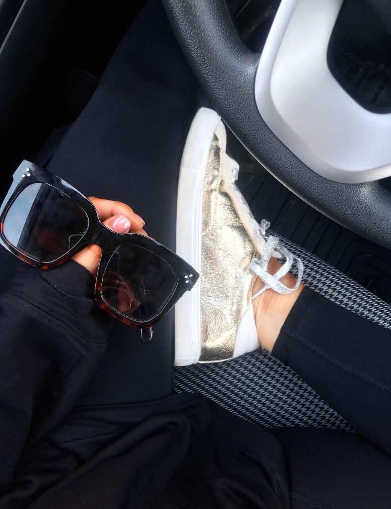 leggings outfit with gold golden goose designed inspired sneakers from amazon and Celine sunglasses designer lookalikes