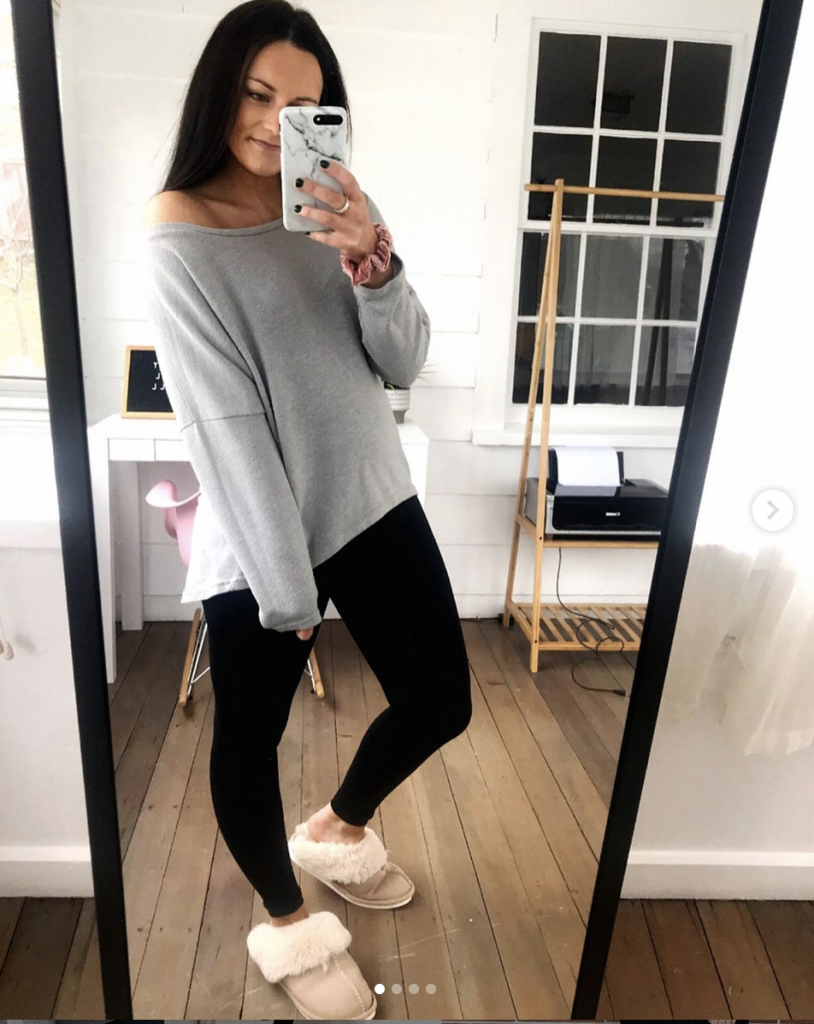 slipper designer lookalikes from amazon with leggings and oversized gray top