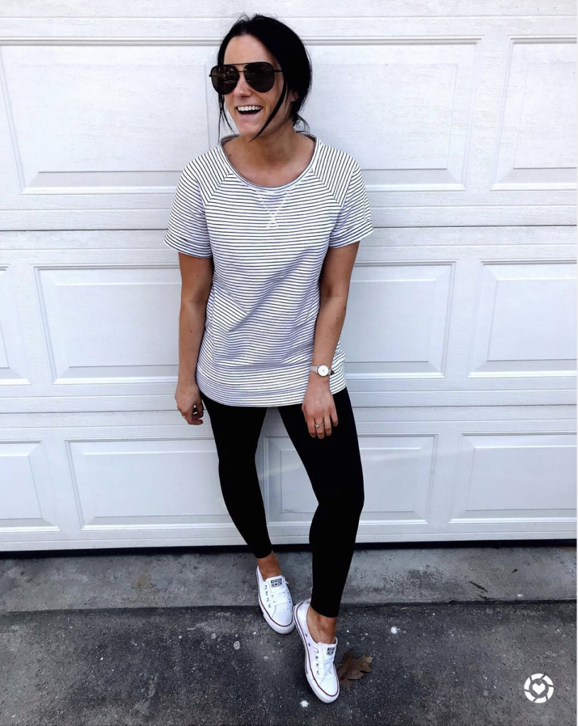 comfy loungewear outfit from amazon wearing black leggings converse sneakers and stripped short sleeve top
