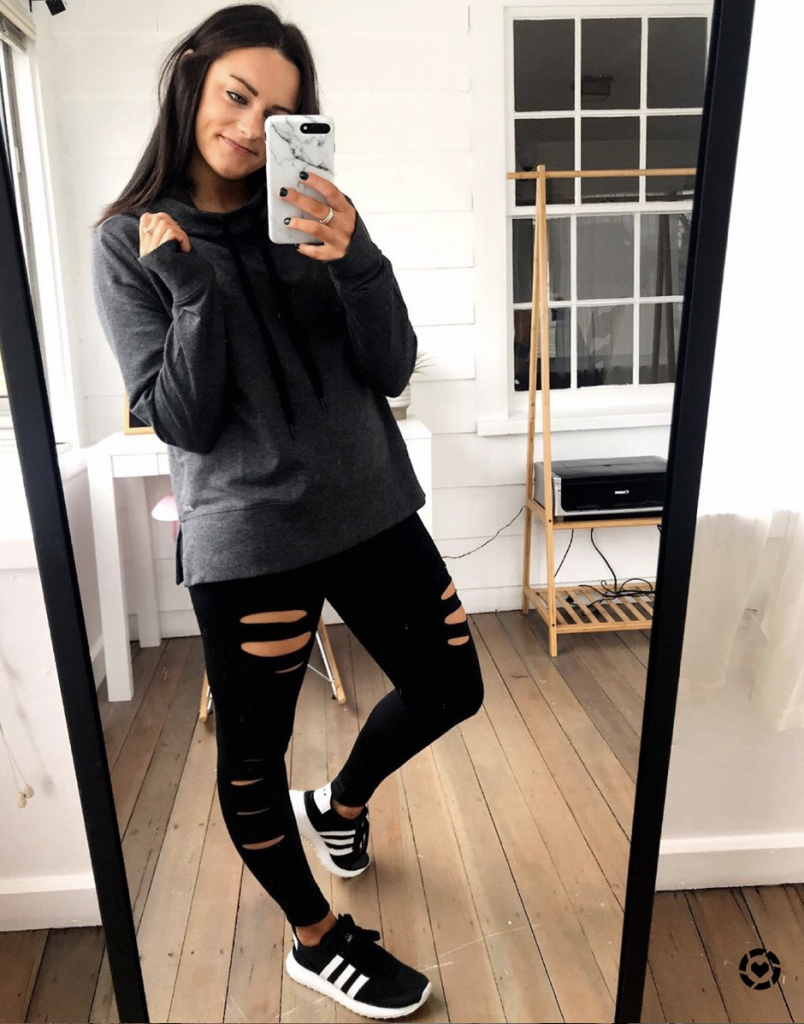 amazon ripped leggings outfit with gray sweatshirt and Adidas sneakers