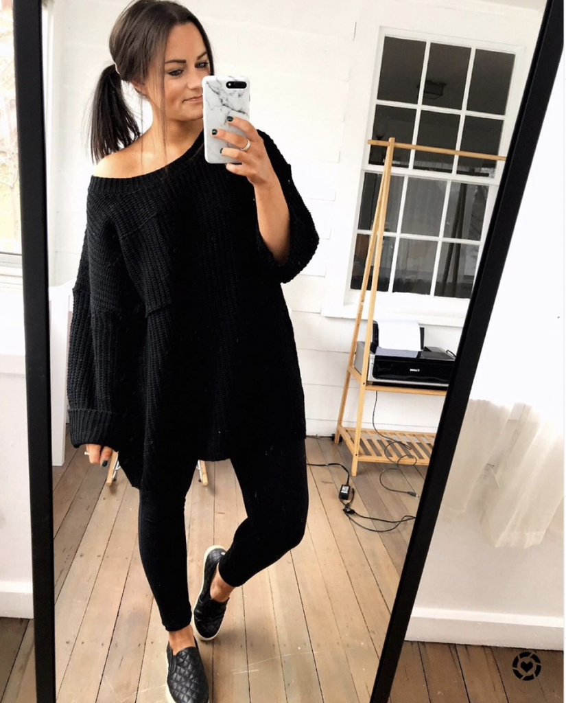 oversized black sweater from amazon with black leggings and Steve Madden quilted sneakers outfit