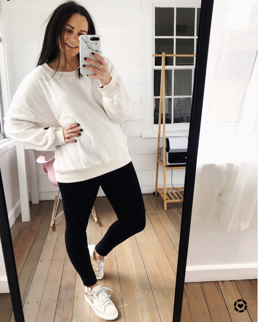 black leggings outfit with cozy sherpa sweatshirt from amazon