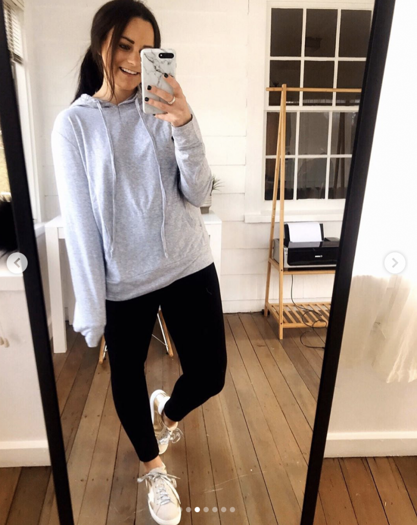 black leggings outfit with gray sweatshirt from amazon and golden goose dupe sneakers