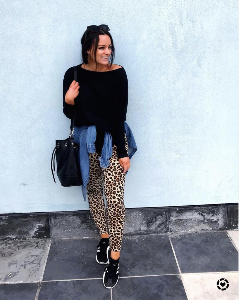 amazon comfy loungewear outfits amazon leopard leggings black long sleeve tee and black amazon bucket bag