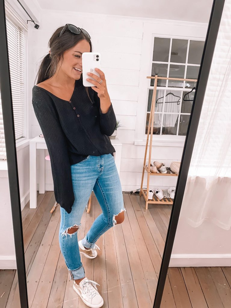 ripped jeans and golden goose dupe sneakers outfit from amazon fashion