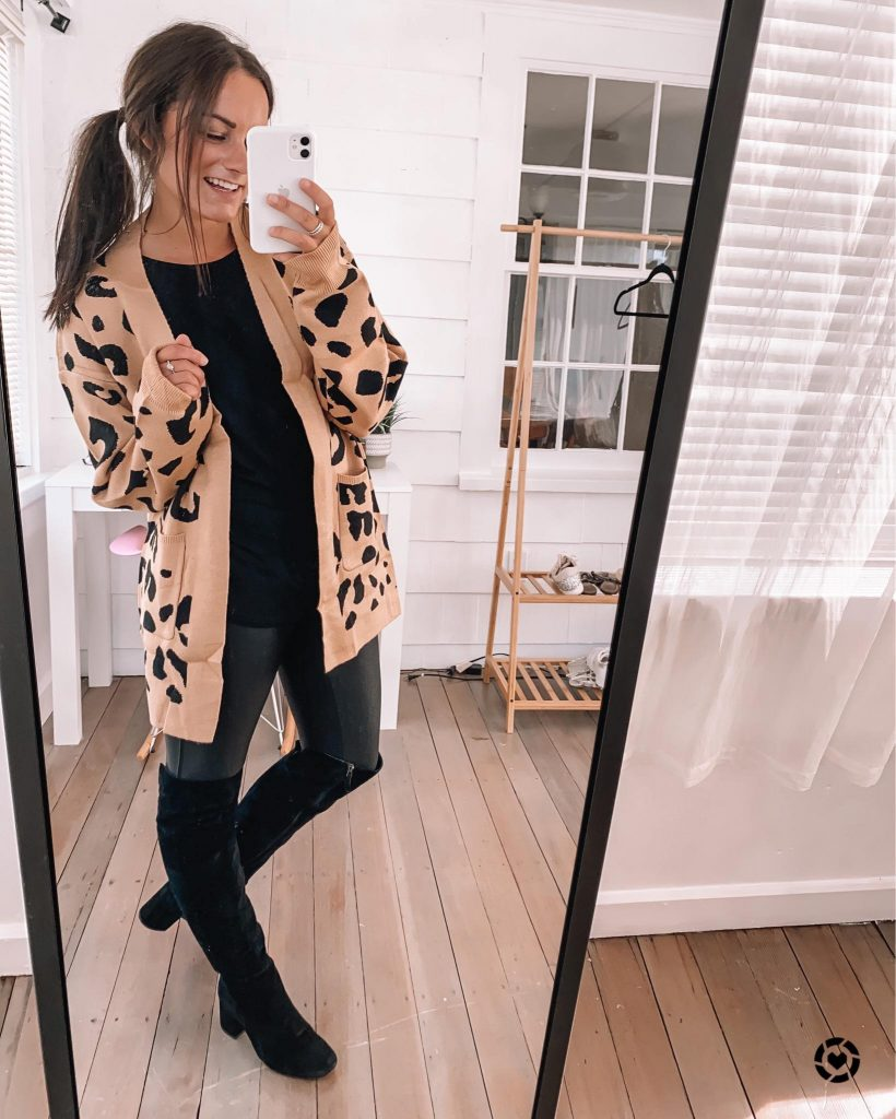 spanx dupe leggings outfit with leopard cardigan and halter top