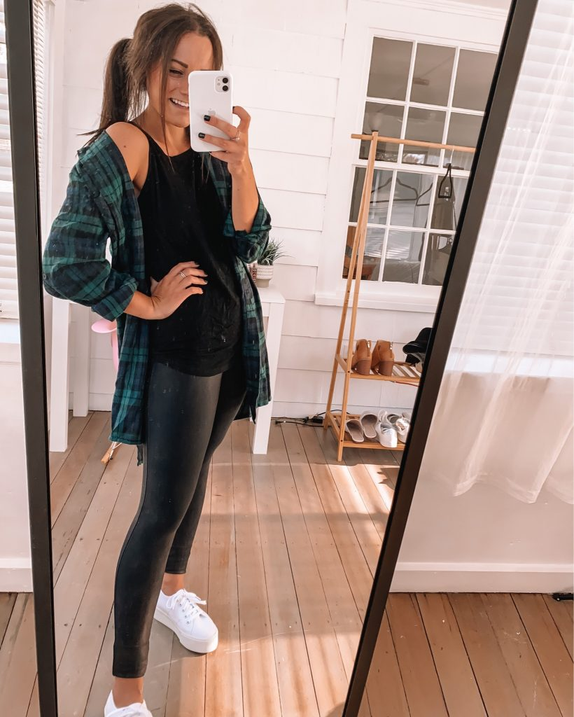 spanx leather leggings casual fall outfits