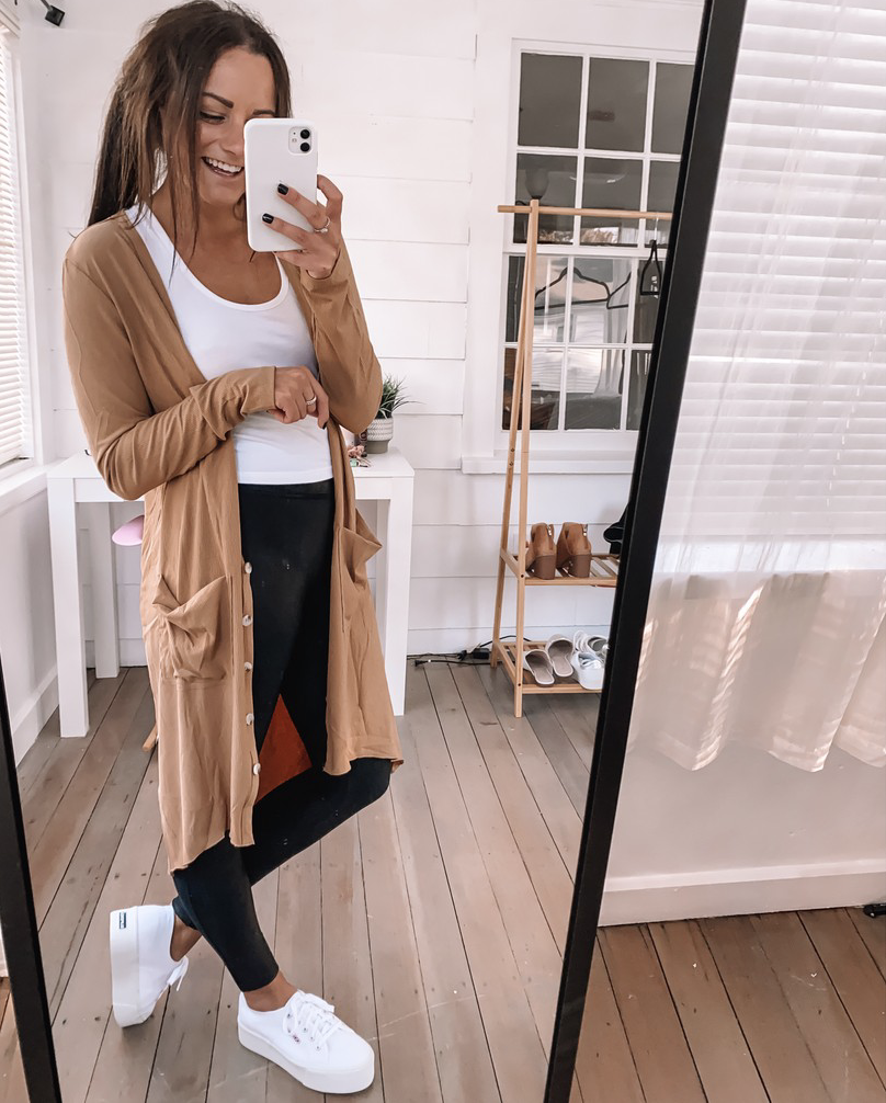 amazon Cardigan sweater outfit with spanx leggings