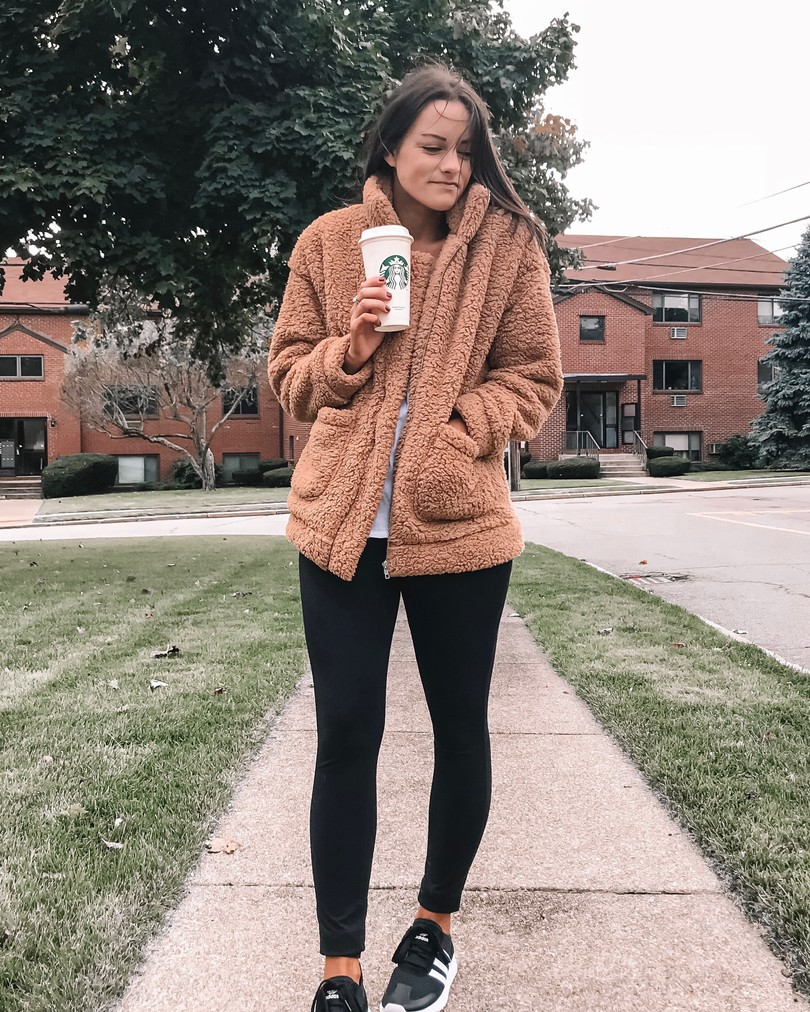 amazon teddy coat and leggings outfit