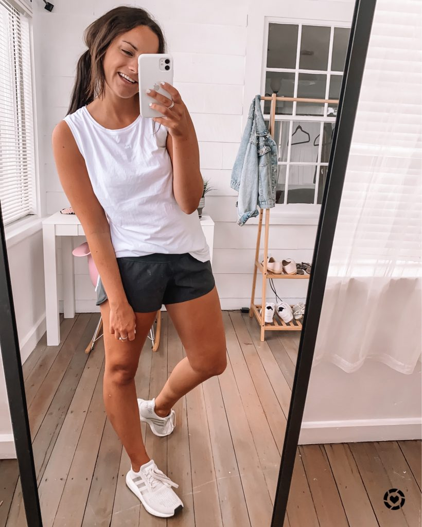 amazon workout shorts and white workout top