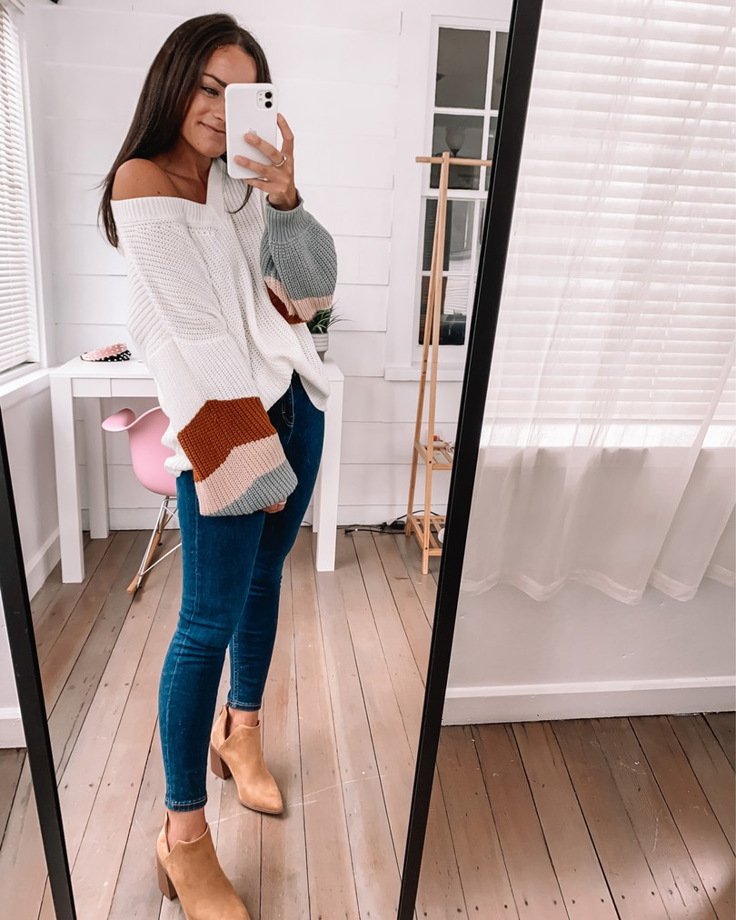 amazon tan booties and sweater fall outfit