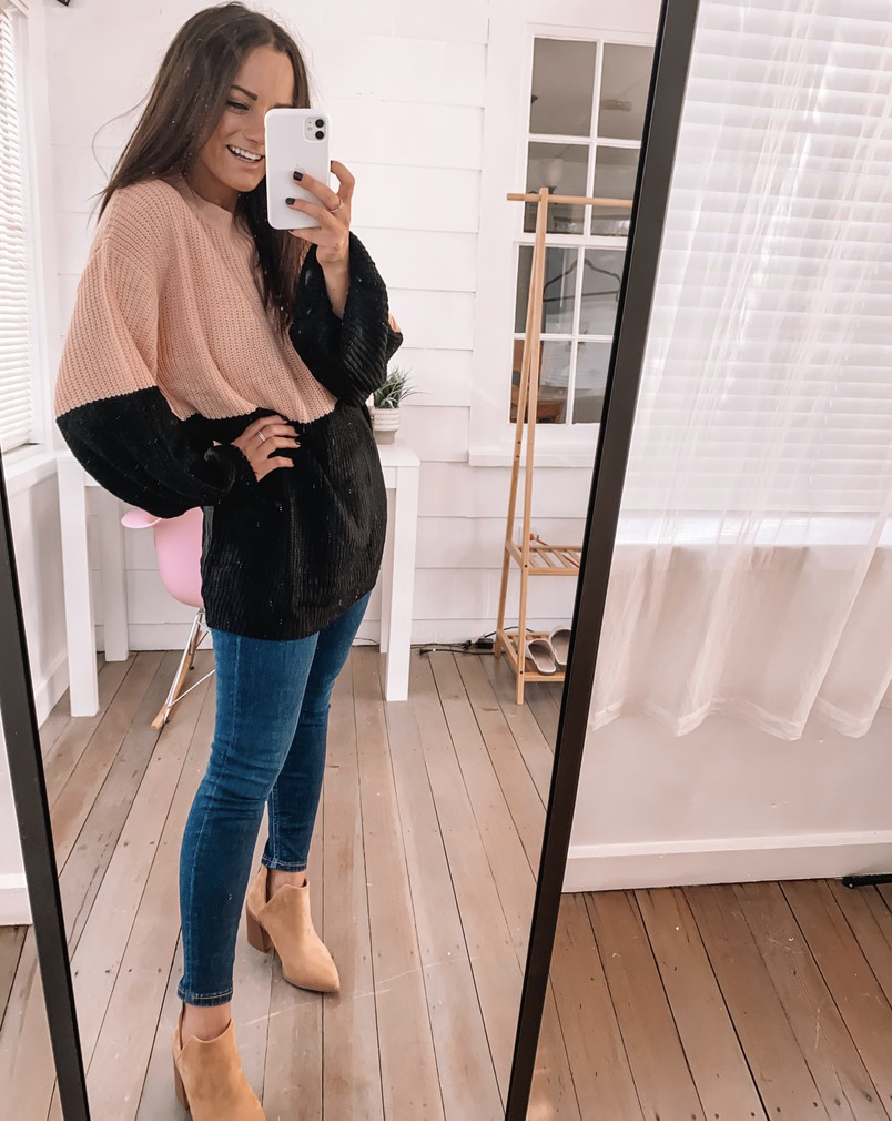 amazon sweater outfit with jeans from amazon fashion