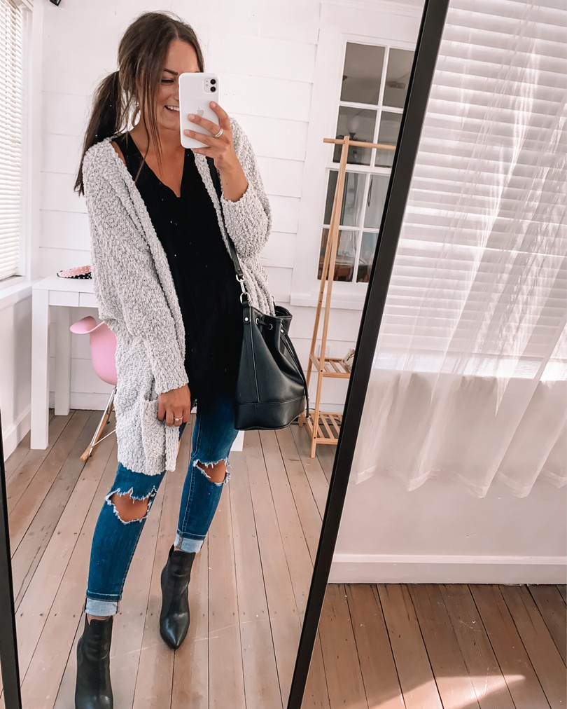 amazon popcorn cardigan outfit with jeans