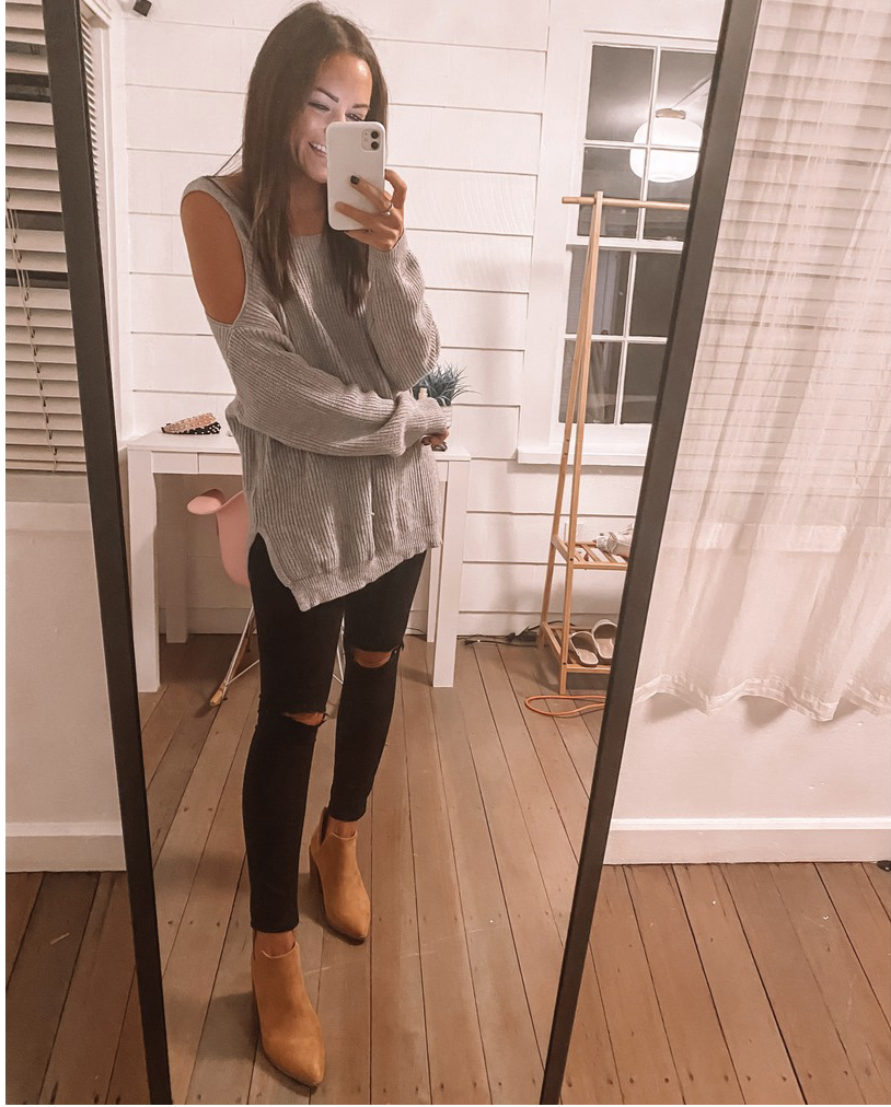 amazon sweaters with tan ankle booties