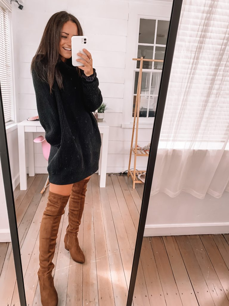 black turtleneck amazon sweater dress with over the knee suede boots