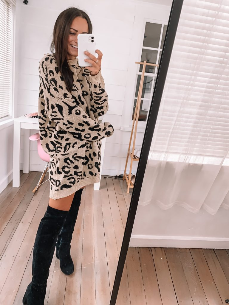 leopard sweater dress from amazon prime for fall