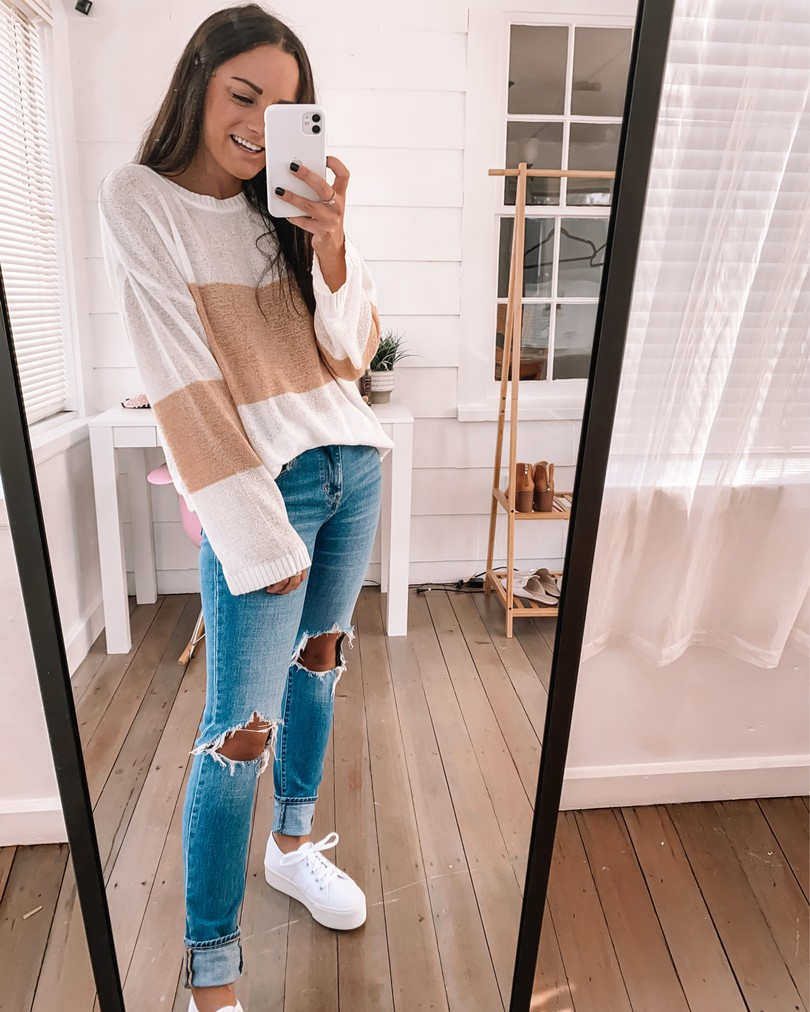 amazon sweaters fall jeans and white platform sneakers