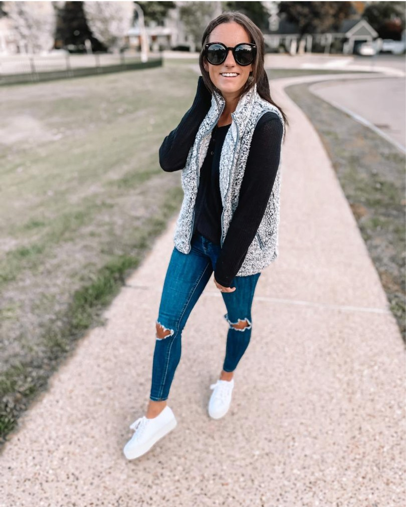 amazon sherpa vest and black tunic outfit