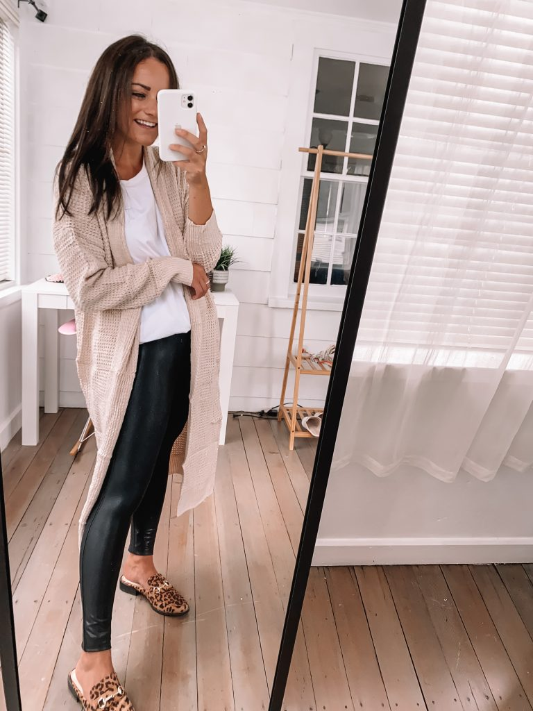 spanx leather leggings outfit cute fall outfits