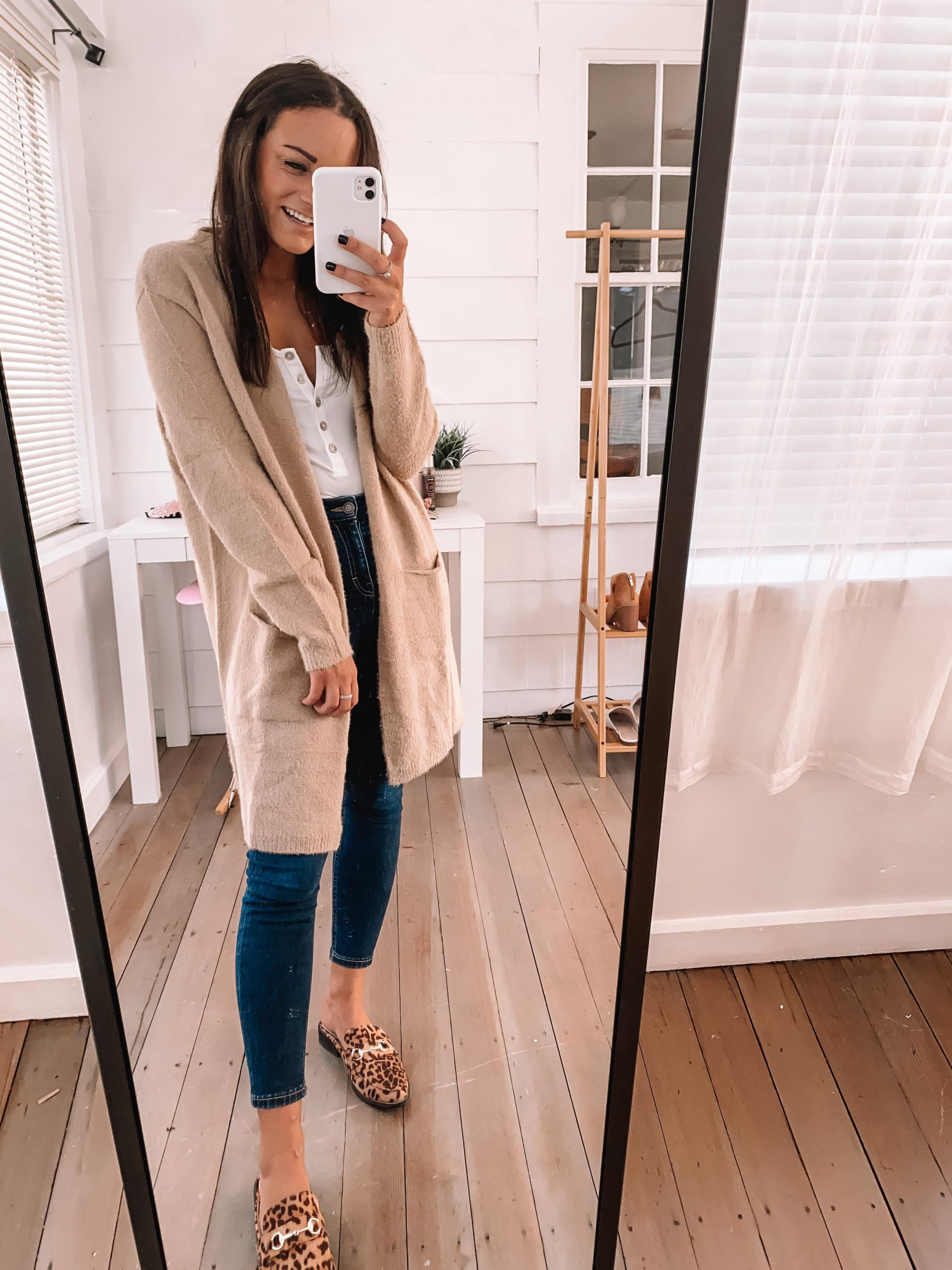 fall leopard mules outfit