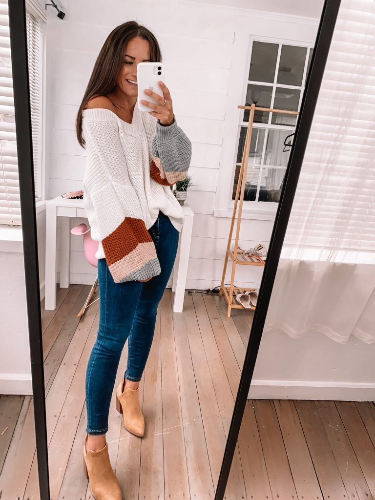 tan booties and jeans fall outfit