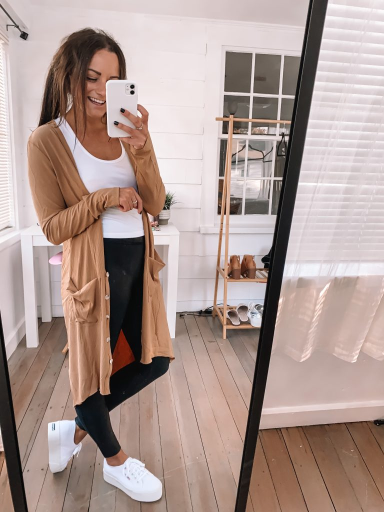 faux leather leggings sneakers fall outfit amazon