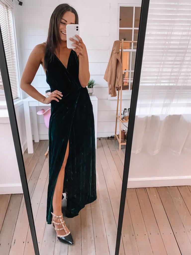 amazon velvet maxi dress for winter wedding guest