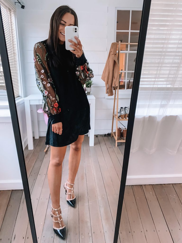 amazon black velvet dress for winter wedding and holiday party