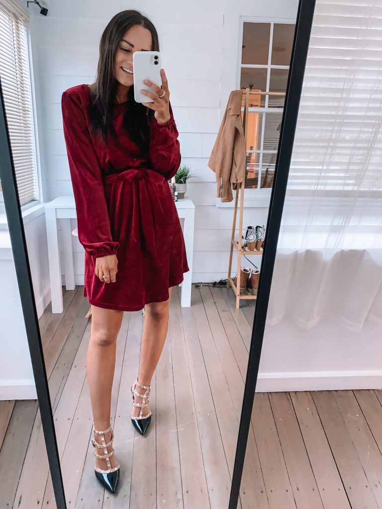 amazon holiday party outfit and winter wedding guest dress